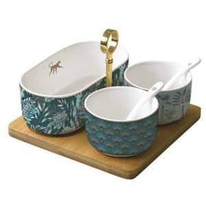 Bilde av Aperitiffsett med 3 skåler og 2 skjer, porselen,