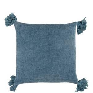 Bilde av Blått putetrekk med dusker 45x45 cm